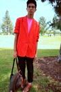 Dark-brown-boots-sky-blue-denim-jacket-red-blazer-bubble-gum-mesh-american