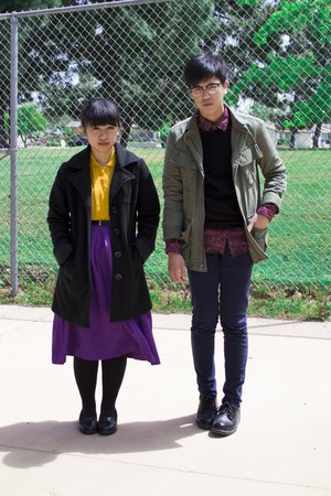 army green jacket - gold shirt - magenta shirt - deep purple skirt - navy pants