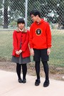Gray-dress-red-sweater-black-tights