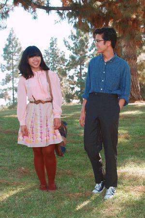 pink shirt - pink skirt - brown tights - gray pants - blue shirt - black shoes