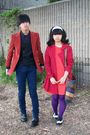 Red-forever-21-coat-red-macys-blazer-blue-h-m-jeans-black-urban-outfitters
