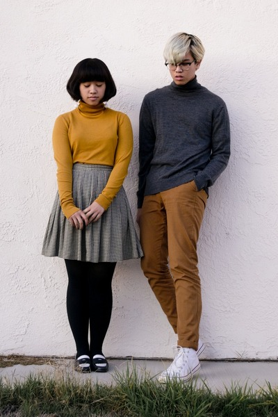 mustard turtleneck sweater - dark gray turtleneck H&M sweater - bronze H&M pants