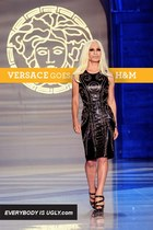 black leather studded versace dress