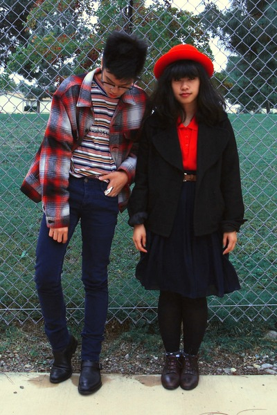 red Levis jacket - black jacket - black boots - blue H&M jeans - red Guess shirt