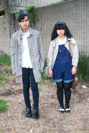 beige H&M coat - black Levis jeans - blue Target jeans - black boots - black HUE
