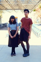 black skirt - red Cheap Monday shirt - black shorts - gray shirt - black boots -