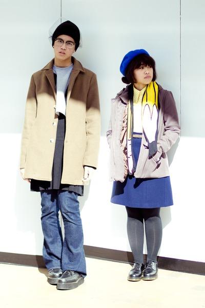 light brown American Apparel coat - blue H&M hat - yellow H&M scarf