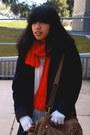 Black-coat-navy-jeans-navy-jeans-navy-blazer-red-scarf-black-necklace
