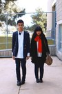 Black-coat-navy-jeans-navy-jeans-navy-blazer-red-scarf-black-necklace