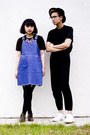 White-shoes-blue-overall-dress-black-gap-t-shirt-black-h-m-pants