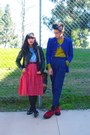 Red-shoes-black-jacket-purple-jacket-red-skirt-black-flats-navy-pants