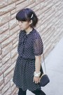 Black-polka-dot-forever-21-dress-heather-gray-cropped-diy-sweater
