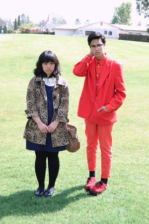 navy H&amp;M dress - tan leopard H&amp;M coat - red jacket - red H&amp;M shirt - red H&amp;M pan