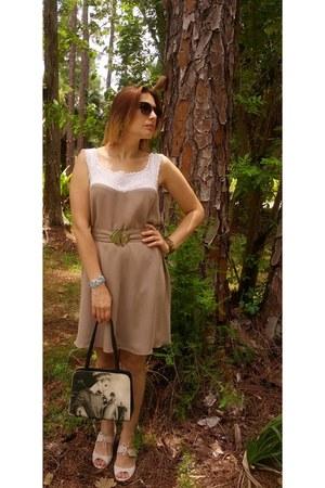 black vintage bag Nancy Lucia NY bag - light brown silk Olena Skiba Design dress