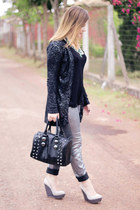 silver wax coated H&M jeans - black Aldo bag - black H&M top