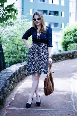 navy Forever 21 blouse - black Primark dress - brown Badgley Mischka bag