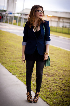 brown santa lolla wedges - black wax coated Zara jeans - navy Forever 21 blazer