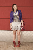 silver sequined neo skirt - brick red studded shop 126 boots