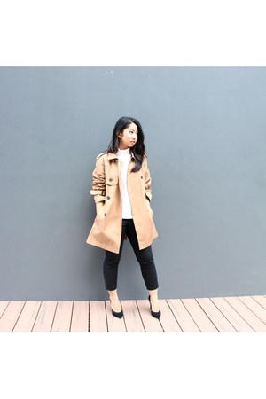 black SQUIRE Australia heels - camel trench coat Zara coat