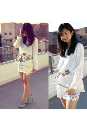aquamarine floral peplum Zara skirt - aquamarine suede peep toe basque bag