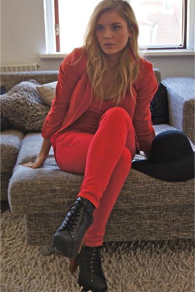 Jeffery Campbell boots - H&M blazer - Zara pants - Carroocose earrings