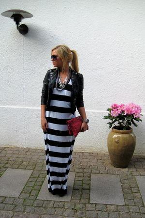 red Miu Miu accessories - white H&M dress - black Zara jacket