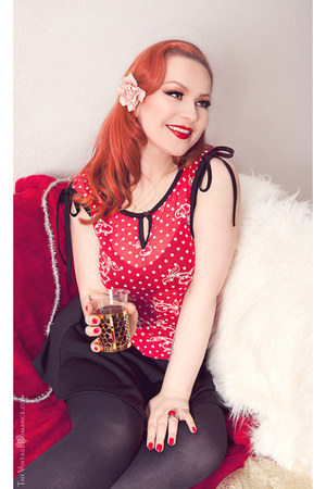 red polka dot Skorpia Xtrem Fashion top