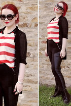 red striped top I heart h-81 top - black sunglasses - black sheer blouse blouse