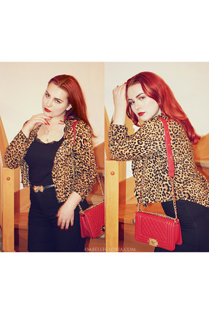 leopard print H&M blouse - crossbody chain PERSUNMALL bag - Forever 21 belt