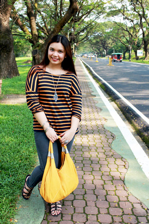 mustard striped Zara blouse - gray Forever 21 jeans - yellow giovanni bag