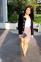 black vintage blazer - white Forever 21 top - coral Promod skirt