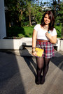 Checkered-vintage-skirt-white-forever-21-shirt-mustard-forever-21-purse