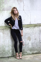 black Top jeans - black H&M jacket - white lara talbot shirt
