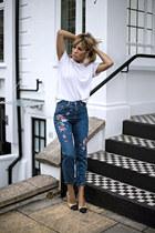beige loeil shoes - navy Topshop jeans - white Primark shirt
