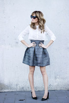 charcoal gray H&M skirt - white Bershka shirt - black Zara heels