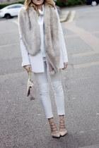 white Zara jeans - white Sheinside sweater - white Mango blazer