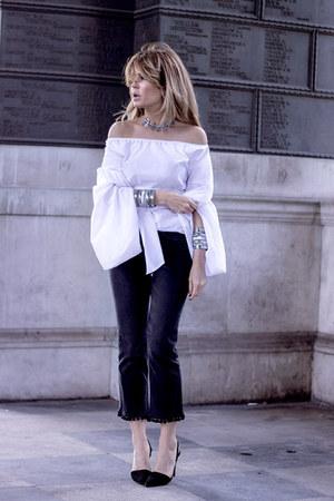 white Sheinside blouse - black Topshop jeans - black Massimo Dutti heels