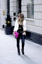 black Zara boots - black Topshop jeans - ivory Mango blazer - hot pink Zara bag