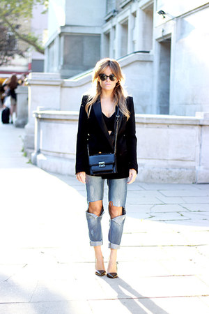 black Office shoes - blue Primark jeans - black Mango blazer - black Mango bag