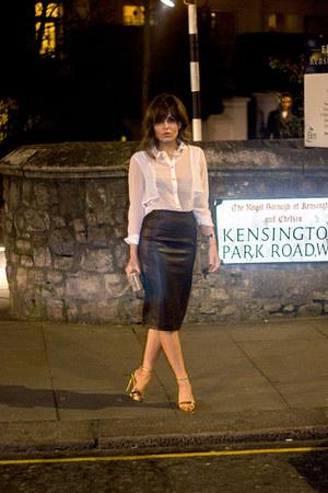 Zara heels - white Guess shirt - mustard Mango bag - crimson Zara skirt