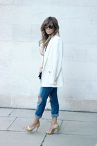 navy Topshop jeans - off white Mango blazer - black Mango bag