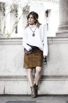 burnt orange River Island boots - burnt orange Zara skirt