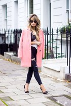 salmon Choies coat - blue jeans - burnt orange BLANCO bag