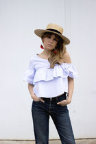 navy Levis jeans - sky blue Zara top - orange hm accessories