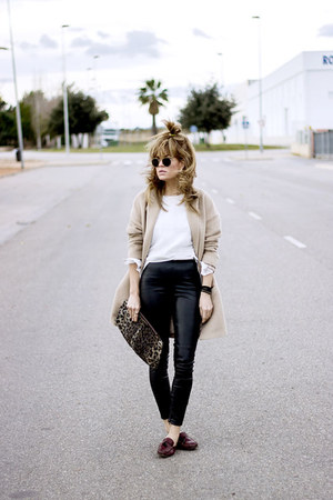 camel Massimo Dutti coat - white Topshop shirt - black Bershka pants