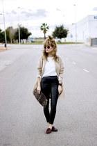 camel Massimo Dutti coat - white Topshop shirt - black Bershka pants