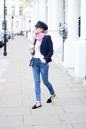 white Topshop shirt - blue new look jeans - navy Zara blazer