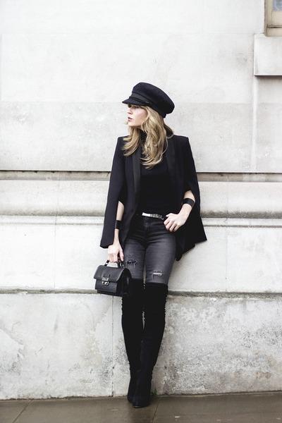 black H&M blazer - black asos boots - charcoal gray H&M jeans