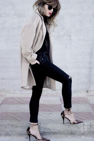 black Topshop jeans - beige Massimo Dutti coat - black Massimo Dutti sweater