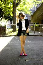 black Mango blazer - white Massimo Dutti shirt - navy vintage shorts